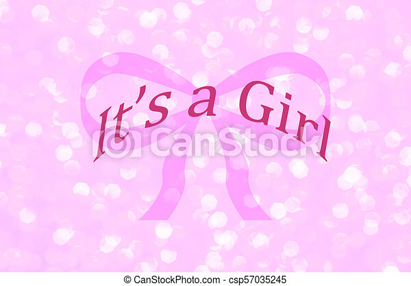 it s a girl baby girl announcement with pink ribbon over sparkle