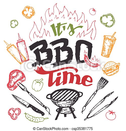 It's barbecue time hand drawn elements set - csp35381775