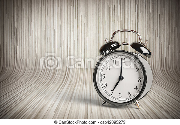 it's seven o'clock already, time to wake up for breakfast, vintage old black metallic alarm clock - csp42095273