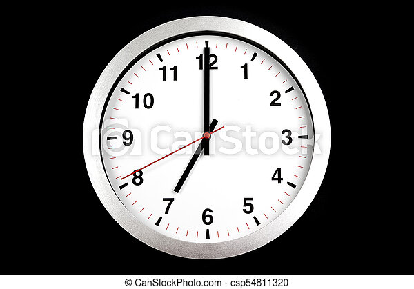 it's seven o'clock already, time to wake up for breakfast, modern white metallic alarm clock on black background - csp54811320