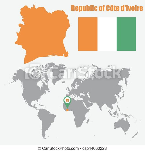 Ivory coast map on a world map with flag and map pointer vector ivory coast map on a world map with flag and map pointer vector illustration gumiabroncs Choice Image