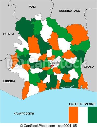 Ivory coast map.