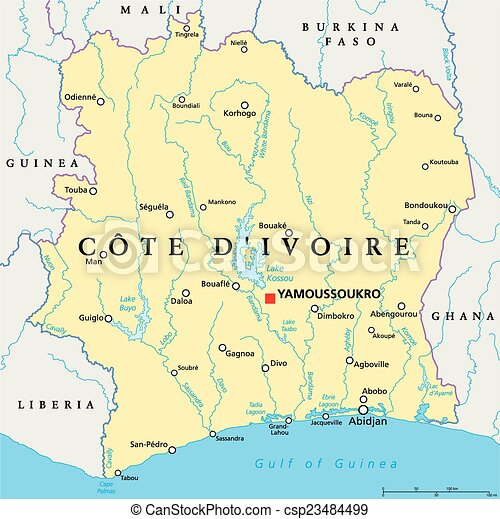 Ivory coast political map cote divoire with capital eps