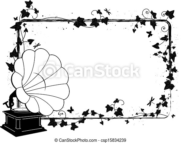 ivy frame with gramophone - csp15834239