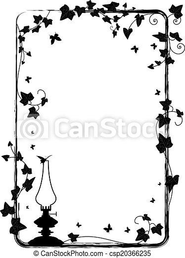 ivy frame with kerosene lamp - csp20366235