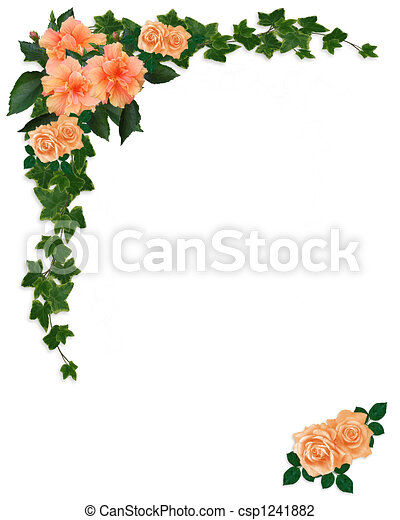 Ivy, Hibiscus and Roses Floral  - csp1241882