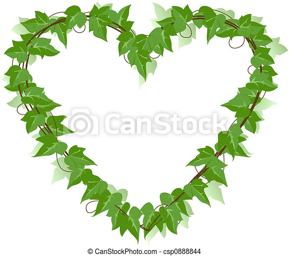 ivy leaf heart over a white background drawing search clip art rh canstockphoto com Cartoon Brick Wall Old Brick Walls