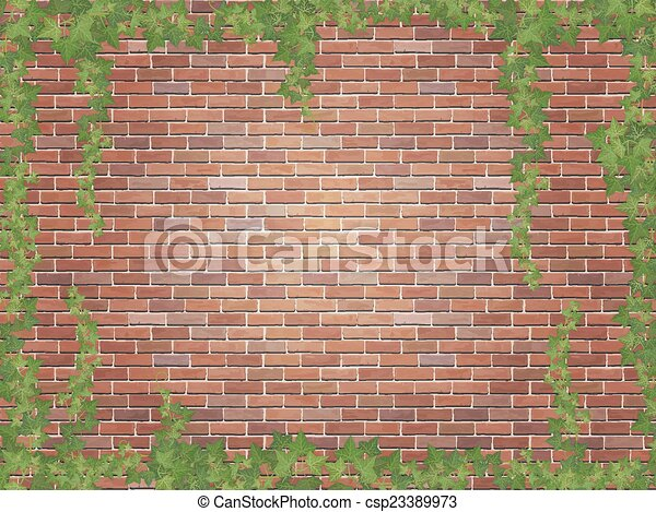 ivy winds on the red brick wall background - csp23389973