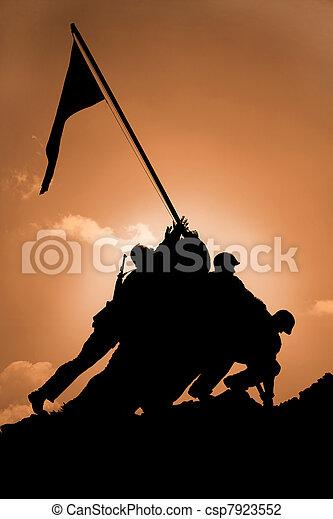 Iwo Jima Memorial at Sunrise - csp7923552