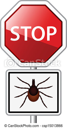 ixodes, ricinus, sinal parada, vetorial, carrapato, estrada - csp15013866