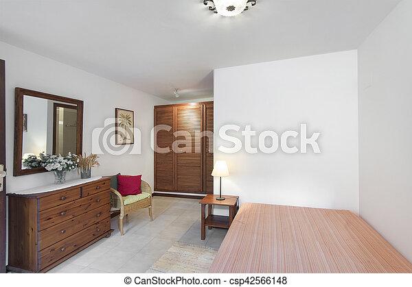 Izba Pokój Drewniany Sypialnia Mały Meble