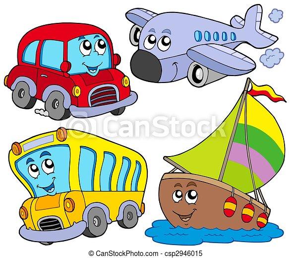 jármű, különféle, karikatúra - csp2946015