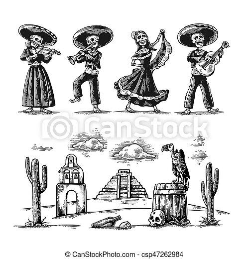 5aaeec91f7 játék, ellen-, mexikói, csontváz, nemzeti, guitar., jelmezbe öltöztet