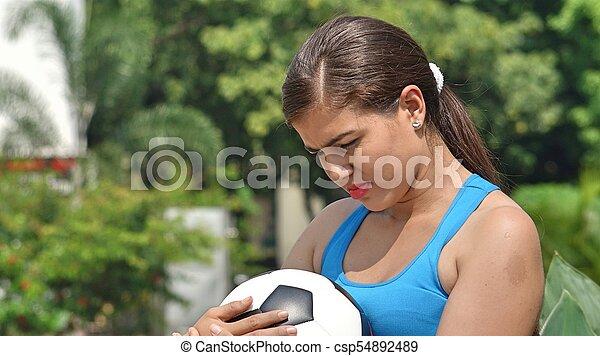 játékos, futball, női, bús - csp54892489