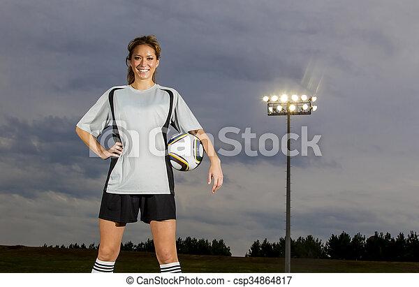 játékos, futball, női - csp34864817