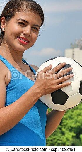 játékos, futball, női - csp54892491