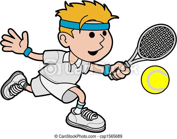 játékos, hím, ábra, tenisz - csp1565689