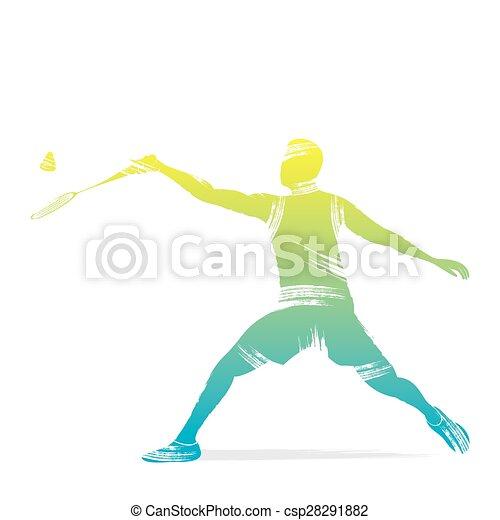 játékos, tollaslabda, tervezés - csp28291882
