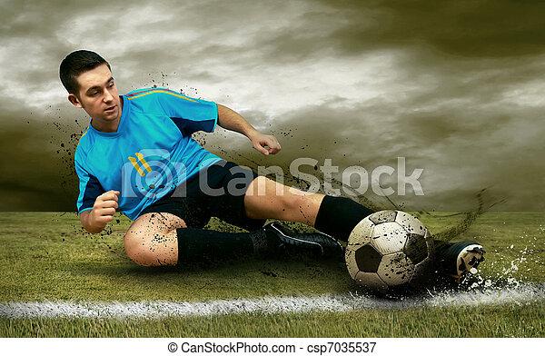 játékosok, futball terep - csp7035537