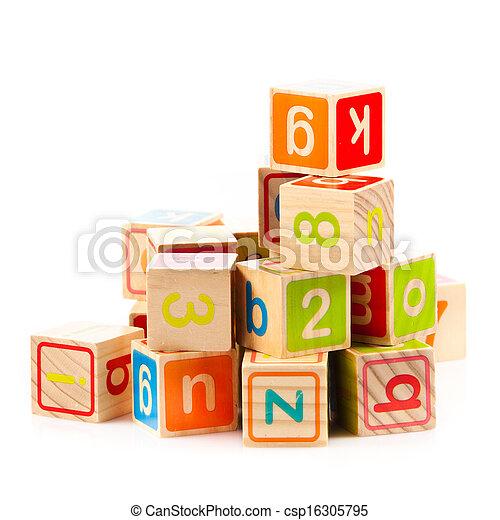játékszer, fából való, abc, blocks., kikövez, letters. - csp16305795