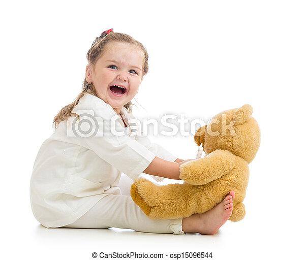 játékszer, orvos, gyermek, leány, játék, öltözék - csp15096544