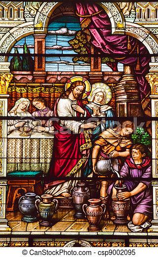 jésus, eau, cana, peter, vin, complété, san, église, virages, catholique, 1924, saint, francisco, californie, paul - csp9002095