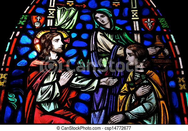 jésus, marie, martha, vitrail - csp14772677