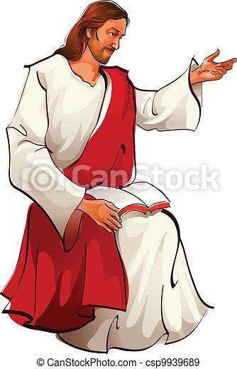 jésus, séance, vue, christ, côté - csp9939689