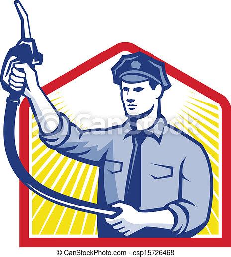 jóquei, gás, bocal, bomba gasolina, combustível, assistente - csp15726468