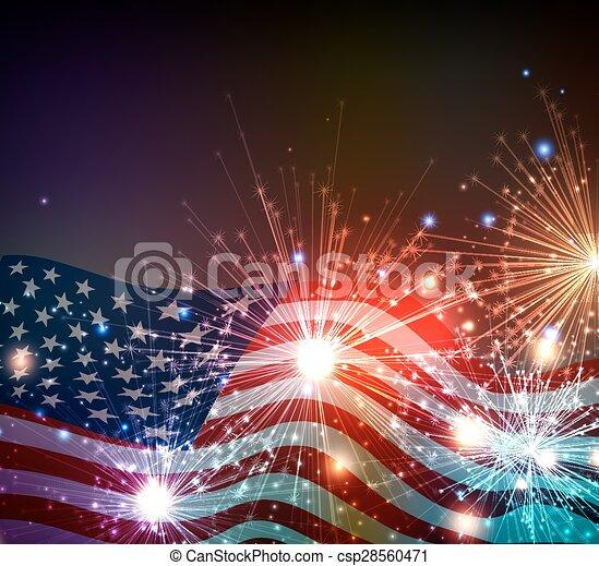 július, tűzijáték, háttér, 4 - csp28560471