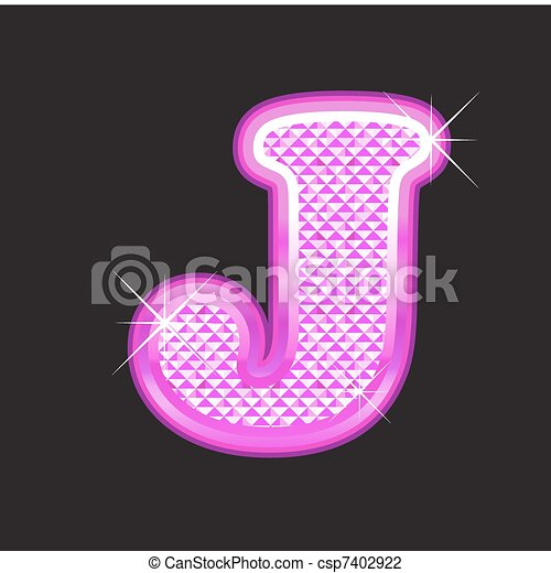 J letter pink bling girly - csp7402922