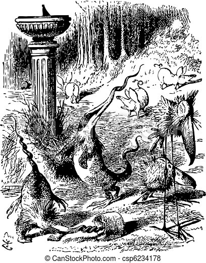 Jabberwocky creatures - Through the Looking Glass and what Alice Found There original book engraving - csp6234178
