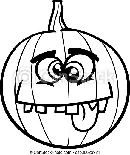 Jack O Lantern Coloring Book Black And White Cartoon Illustration