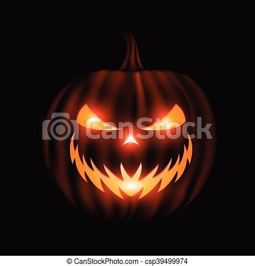 Jack O Lantern Face Halloween Background Isolated On Black Jack O