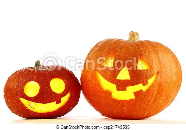 Jack O Lantern halloween pumpkins - csp21743533