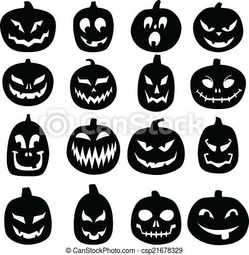 Jack O Lantern Icons A Set Of 16 Hand Drawn Jack O Lantern Silhouettes