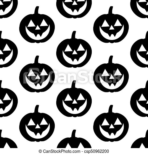 Jack O Lantern Pumpkin Pattern On The White Background Vector