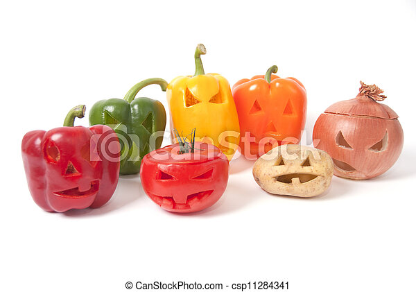 Jack-o-Lanterns made out of Fruit and vegetables - csp11284341
