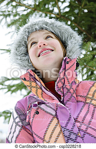 jacke, m�dchen, glücklich, winter, junger - csp3228218
