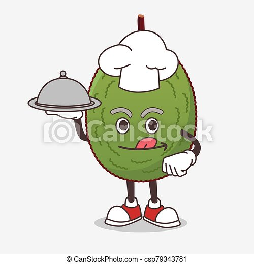 Jackfruit cartoon mascot character as a Chef with food on tray ready to serve - csp79343781