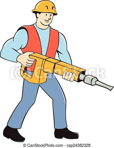 jackhammer, 建设工人, 卡通漫画, 握住 - csp24382328