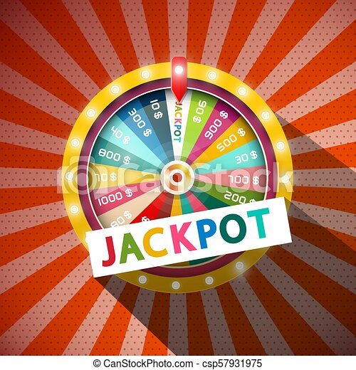 Jackpot Title with Wheel of Fortune on Vintage Background - csp57931975