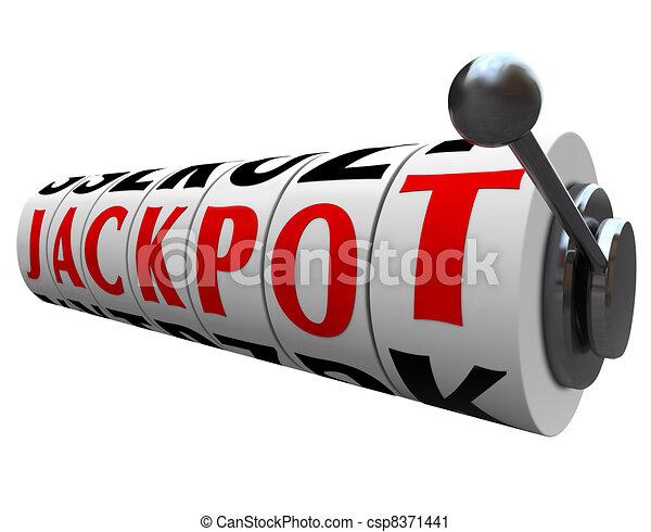 Jackpot Word Slot Machine Wheels Money Payout - csp8371441