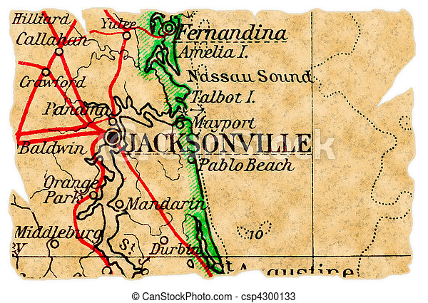 Jacksonville old map. Jacksonville, florida on an old torn map from ...
