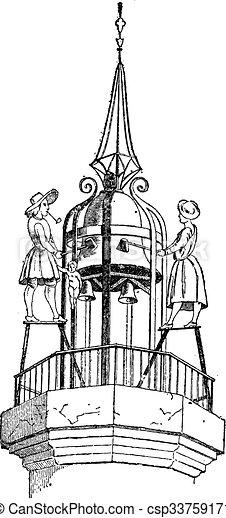 Jacquemart (bellstriker), vintage engraving. - csp33759171