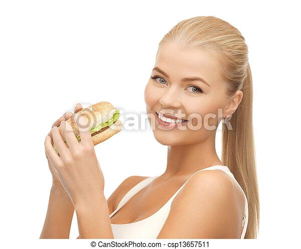 jadło, dżonka, kobieta jedzenie - csp13657511