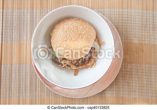 jadło, drewno, taca, hamburgery, mocny - csp40133825