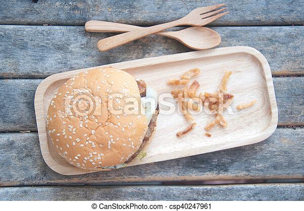 jadło, mocny, tradycyjny, drewno, taca, hamburgery - csp40247961