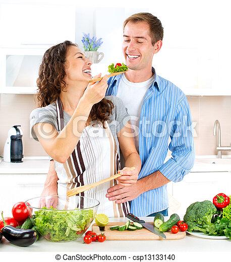 jadło, para, razem., szczęśliwy, zdrowy, gotowanie, dieting. - csp13133140