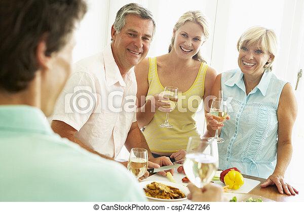 jadło, partia, obiad, przygotowując, człowiek - csp7427246